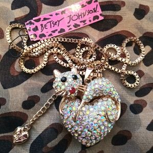 Jewelry - Betsey Johnson Crystal Mouse on Heart Necklace